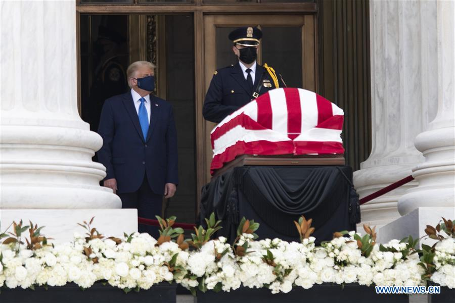 Trump, Melania pay respects to late Justice Ginsburg at U.S. Supreme Court