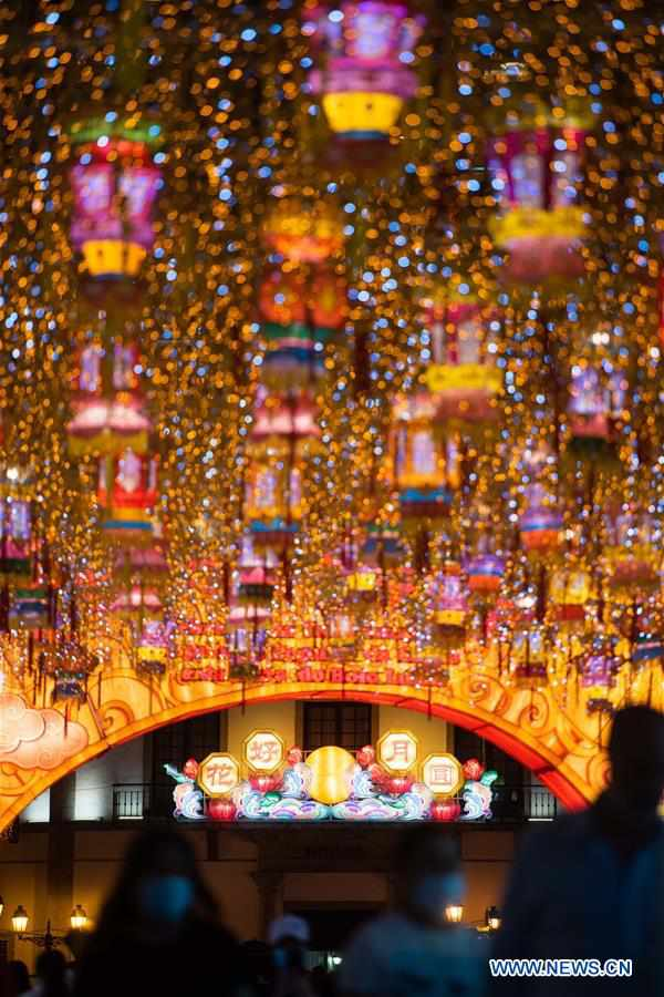 Decorations set up in Macao to celebrate upcoming Mid-Autumn Festival